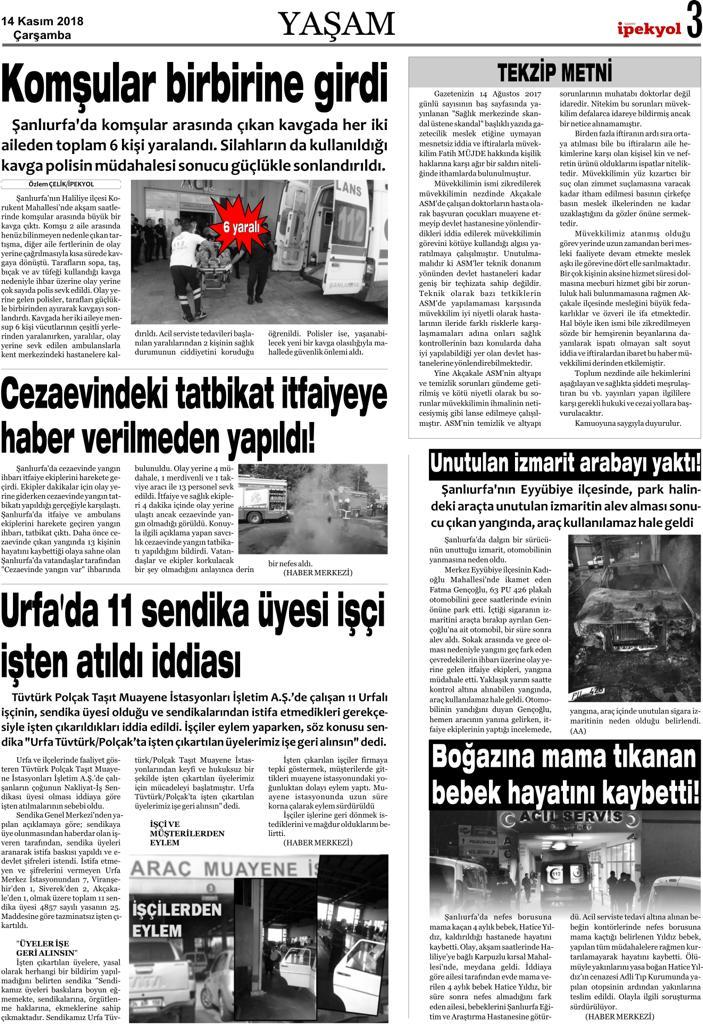 Yerel Gazete, Mahkeme kararıyla Tekzip yayınladı