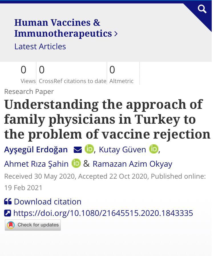 Derneğimizin de Katkı Sunduğu ve Türkiye'de Aile Hekimlerinin Katılımıyla Yapılan Bilimsel Araştırma Uluslararası Saygın Bir Tıp Dergisinde Yayınlandı
